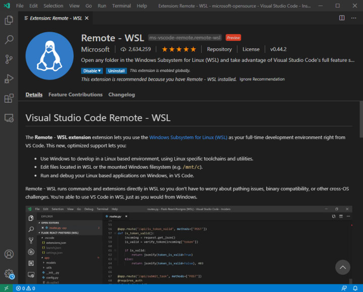 Code with the remote WSL extension