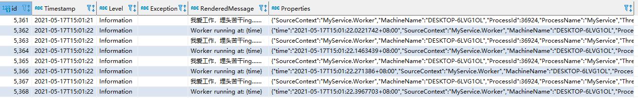 Serilog SQLite table