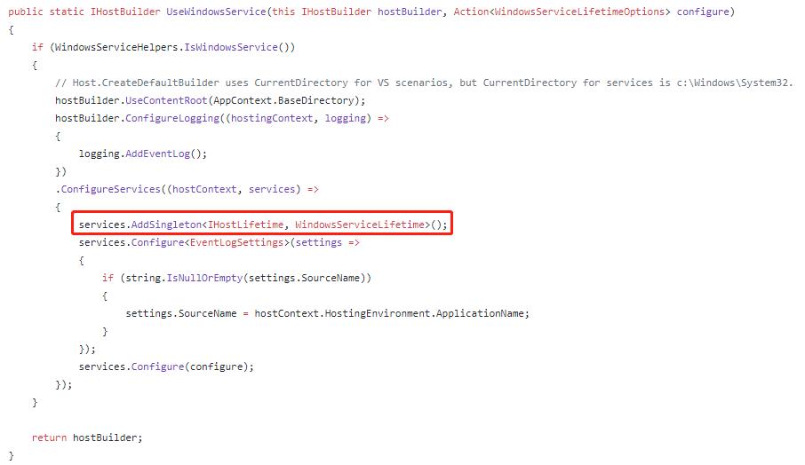 UseWindowsService Method